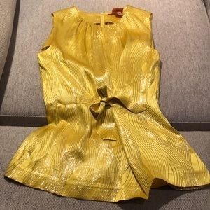 Tory Burch yellow silk top.